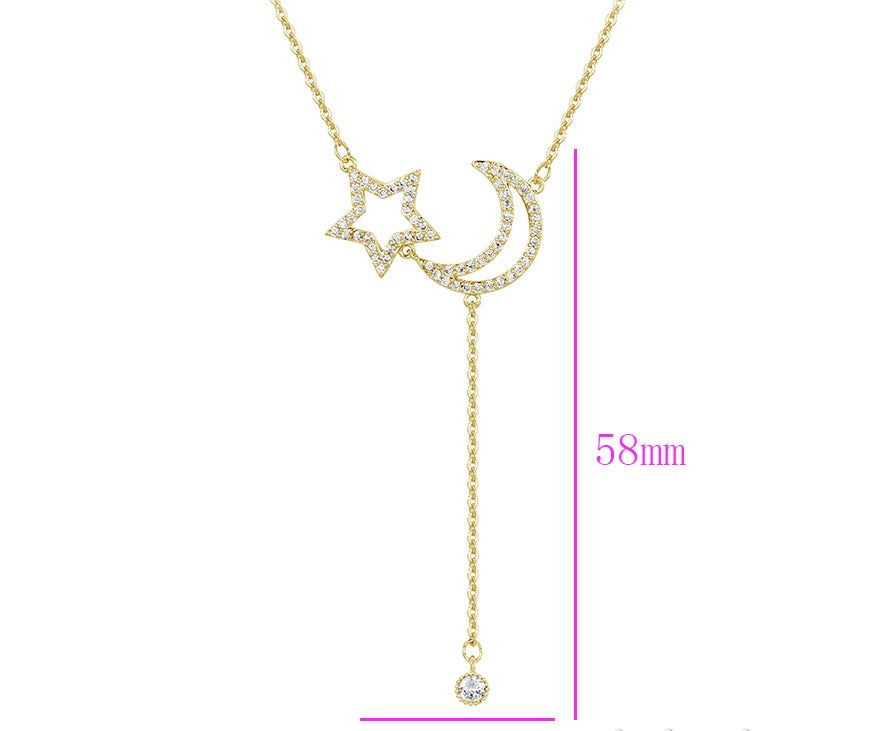 Elegant 14K Gold Plated Star & Moon Necklace