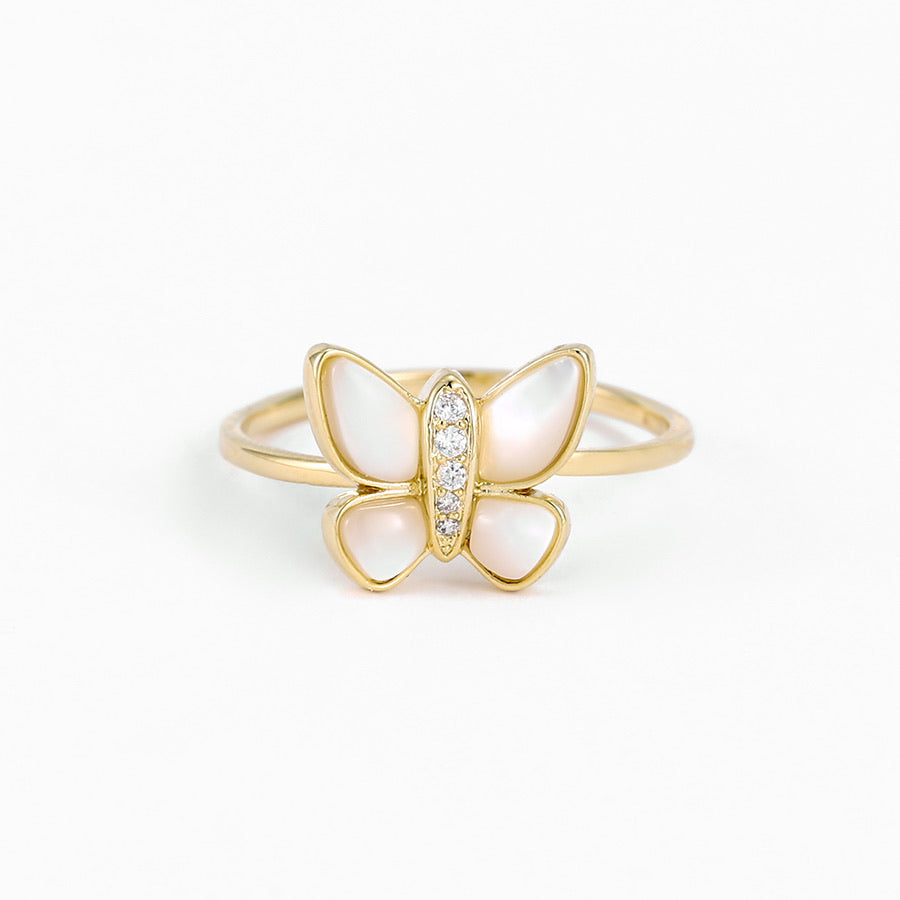 14K Gold Plated Mother Of Pearl & Cz Diamond Butterfly Ring