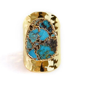 Vervain Copper Gold Plated Turquoise Adjustable Ring