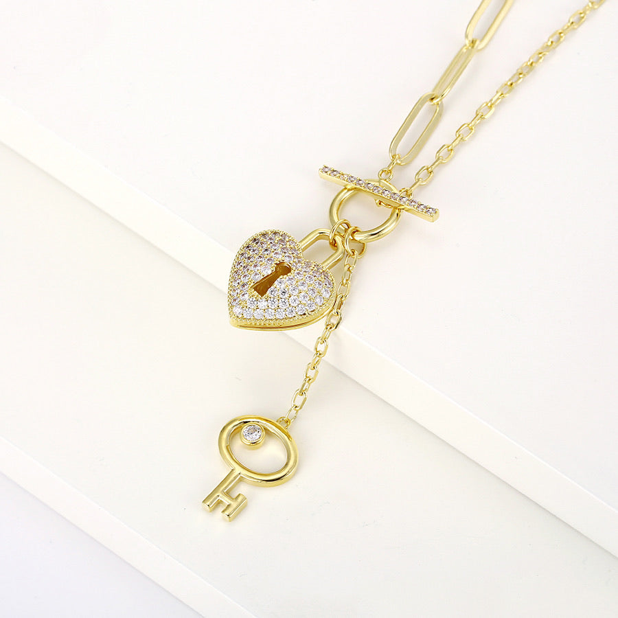 New Design 14K Gold Plated Diamond Heart & Key Necklace
