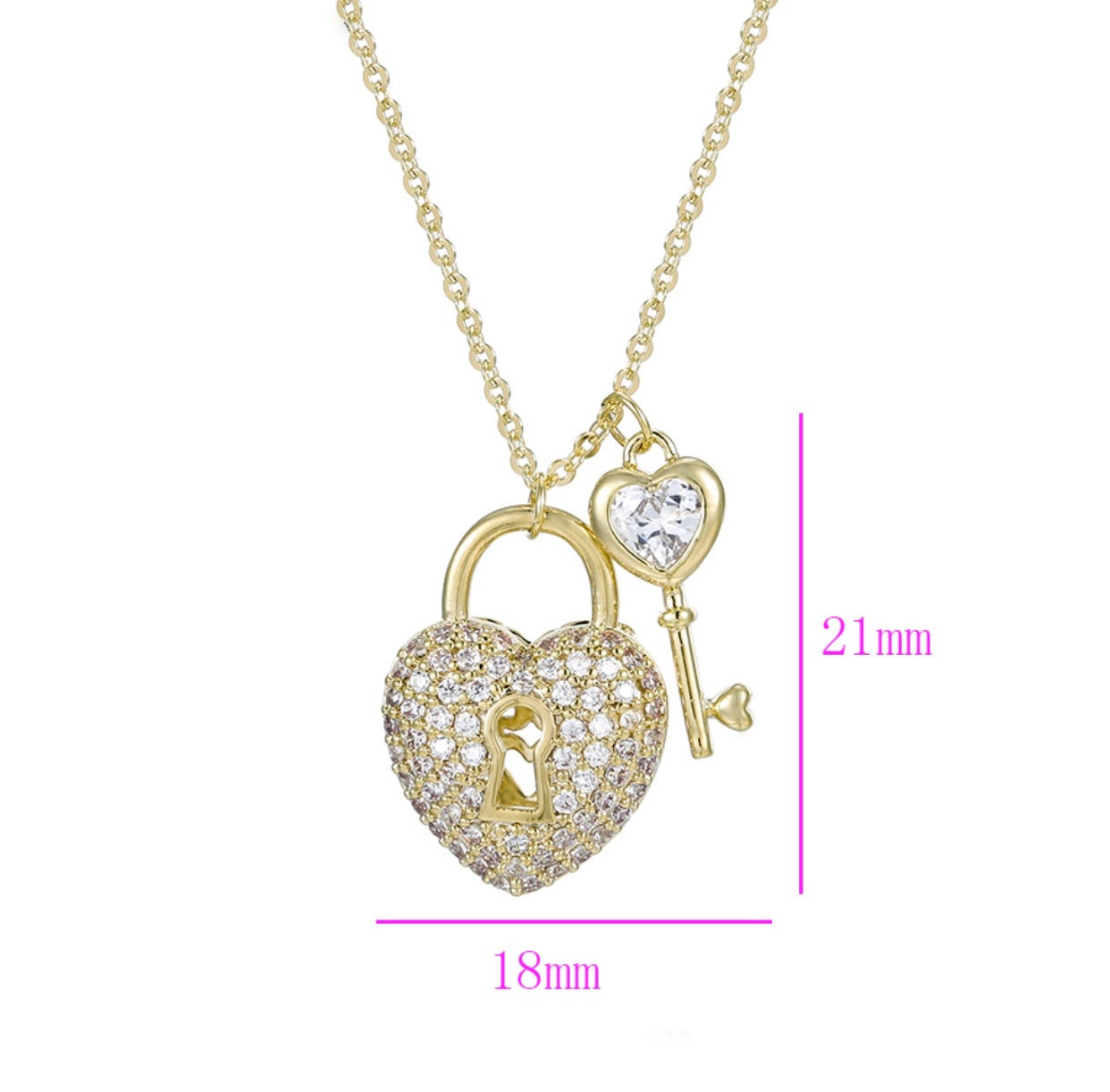 14K Gold Plated Heart & Key Necklace