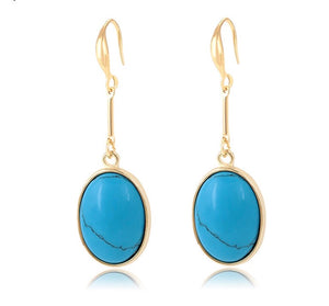 14K Gold Plated Turquoise Drop Earring