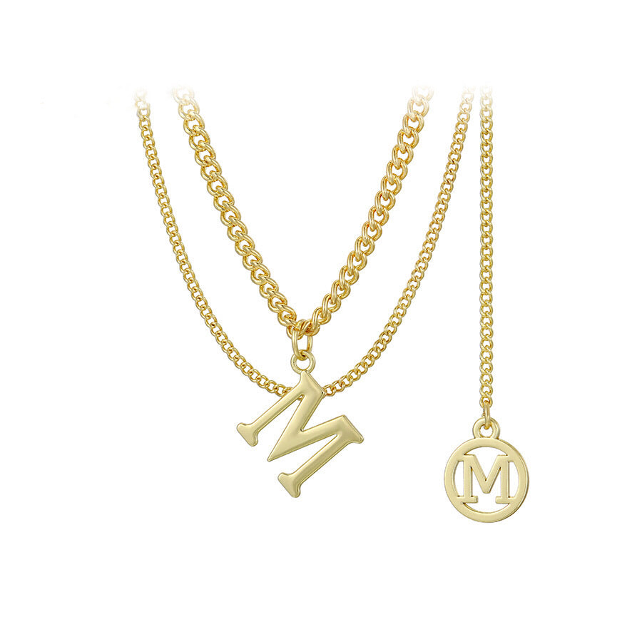 Unique Design 14K Gold Plated Initial M layered Necklace