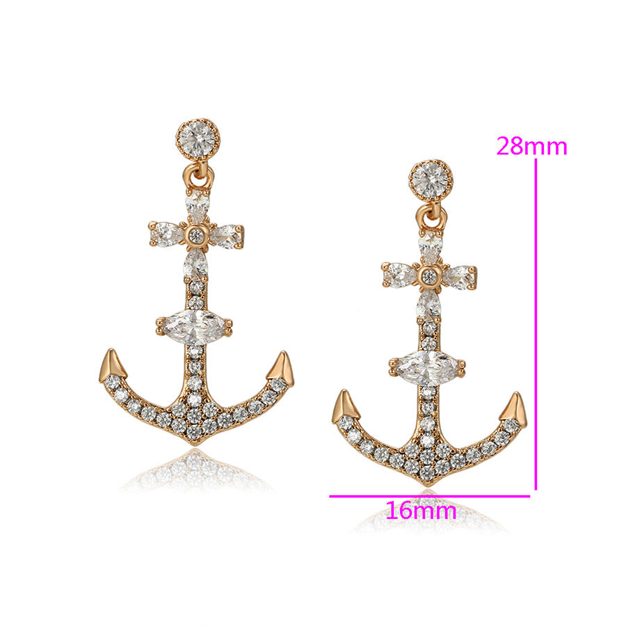 18K Gold Plated Cubic Zirconia Beautiful Anchor Earring