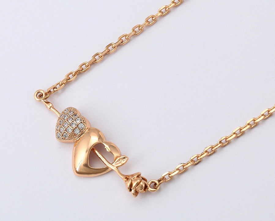 Environmental copper 18K Gold Plated Flower & Heart Necklace