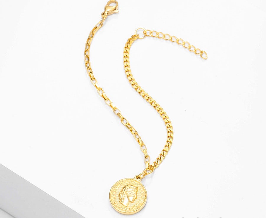 24K Gold Plated Coin Bracelet