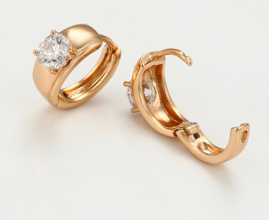 18K Gold Plated Unique Cz Stone Earring
