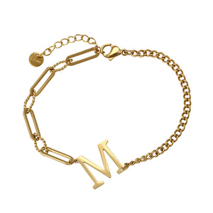 14K Gold Plated Initial M Bracelet