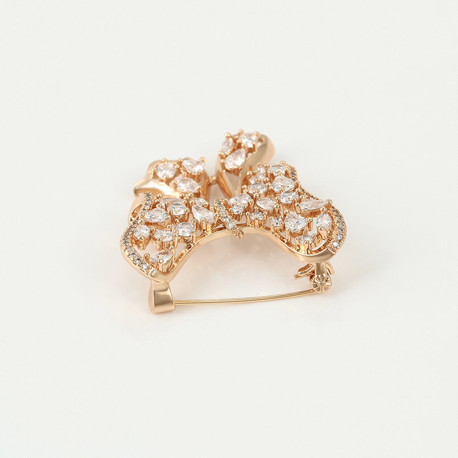 Adorable Bow Brooch 18K Gold Plated Cz Diamond