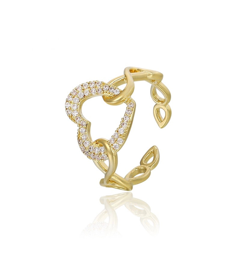 14K Gold Plated Cz Diamond Heart Ring