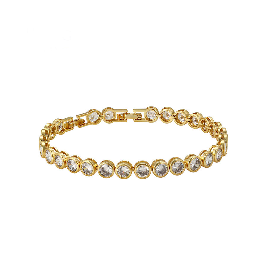 24K Gold Plated Cz Diamond Tennis Bracelet