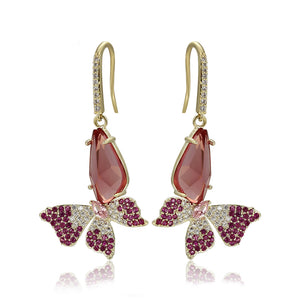 14K Gold Plated Crystal & CZ Diamond Butterfly Earring