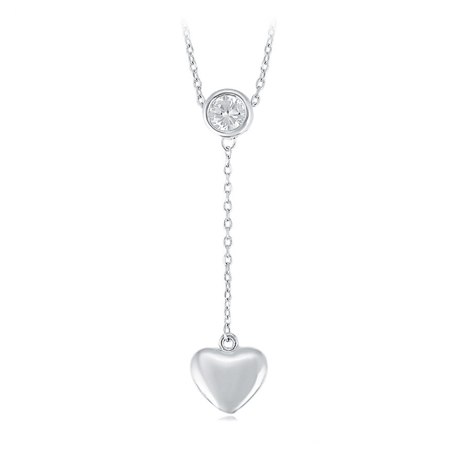 Rhodium Plated Diamond Heart Necklace
