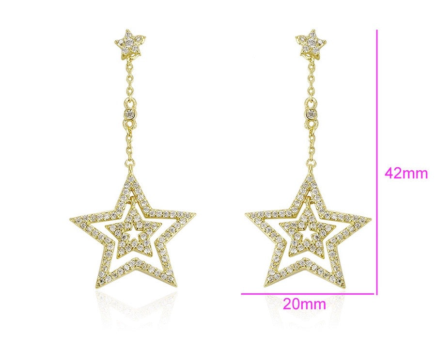 14k Gold Plated Zirconia Star Earring