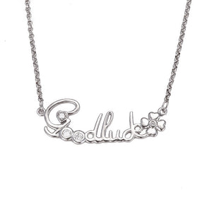 Rhodium Plated Good Luck Letter Necklace