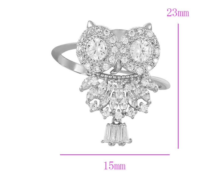 Rhodium Plated Owl Ring