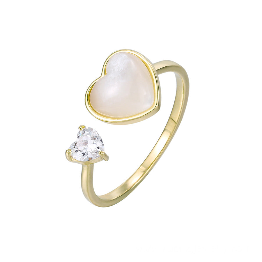 14K Gold Plated Mother Of Pearl Heart Ring