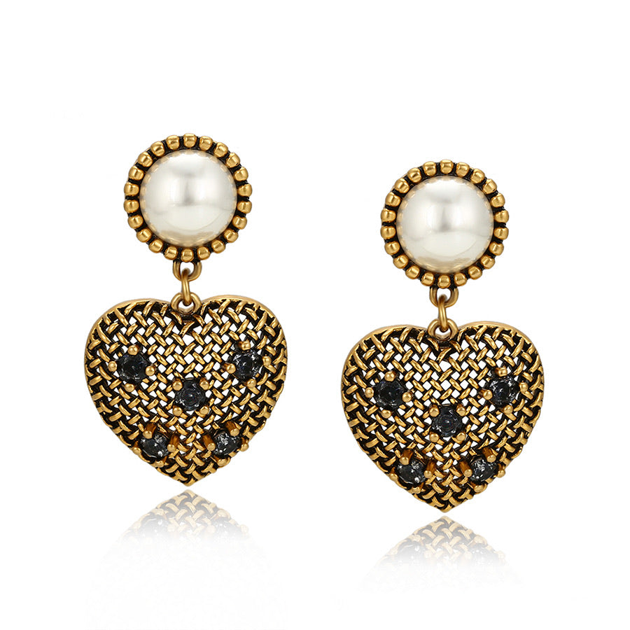 24K Gold Plated Diamond Heart Earring