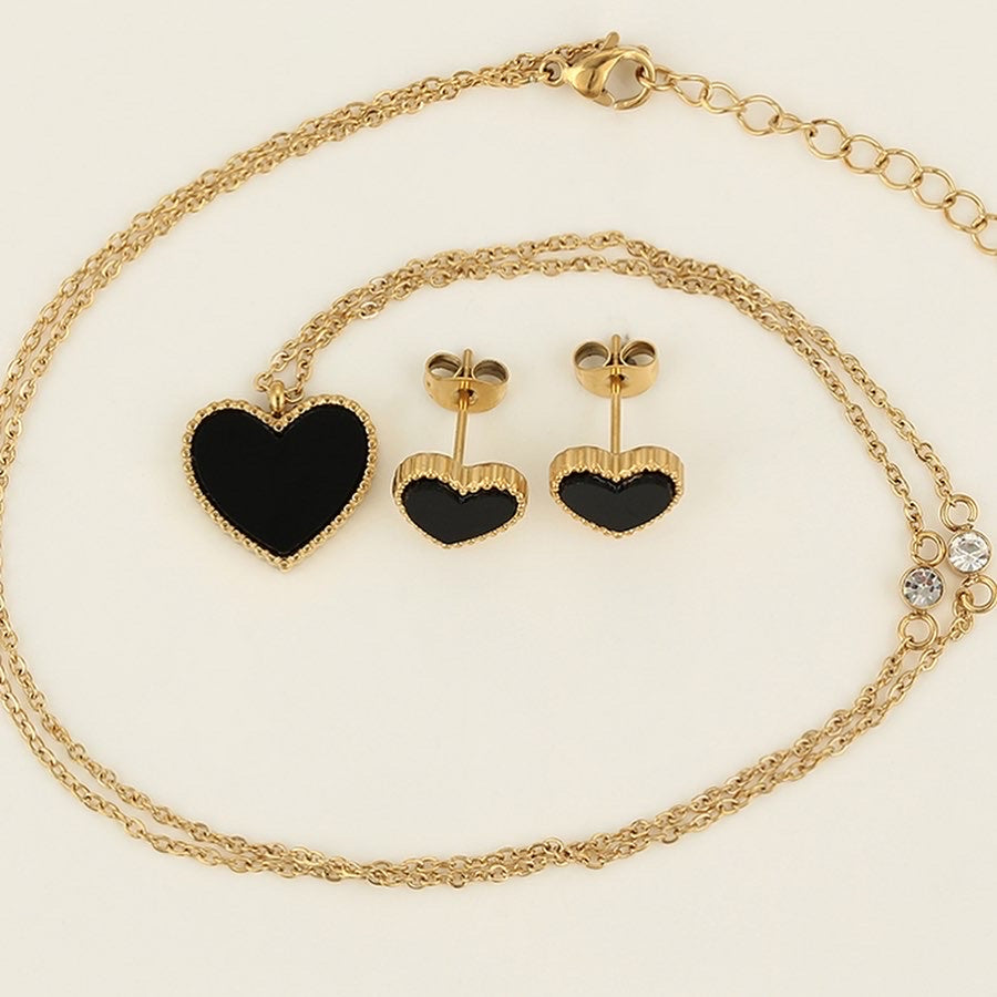 14K Gold Plated Black & Gold Heart Necklace & Earring Set