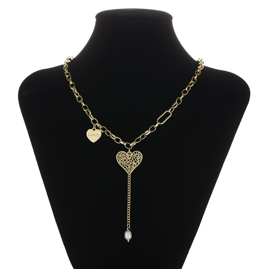 14K Gold Plated Heart With Love Letter Necklace