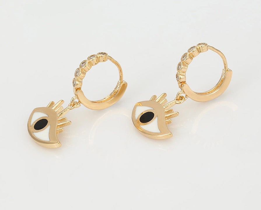 Environmental Copper 18K Gold Plated Elegant Eye Earring