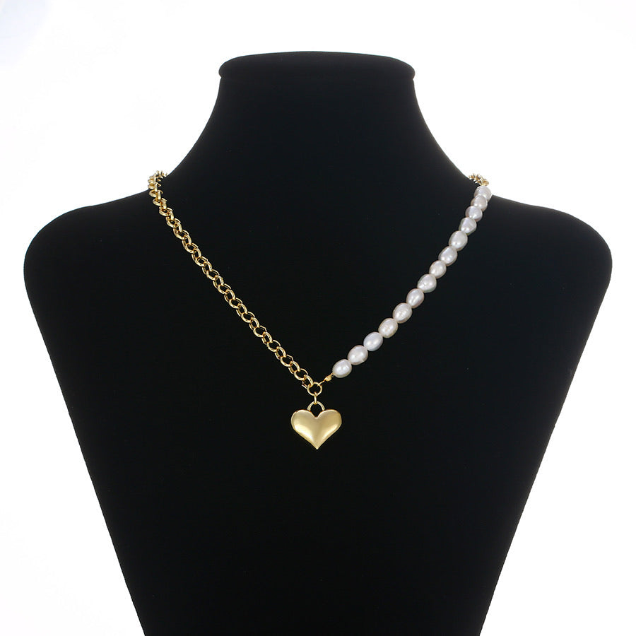 14K Gold Plated Heart Pearl Handmade Necklace