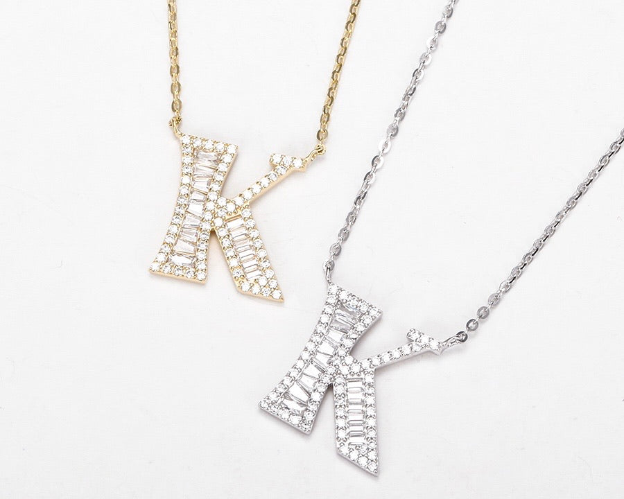 S925 Silver 14K Gold Plated Initial K Necklace