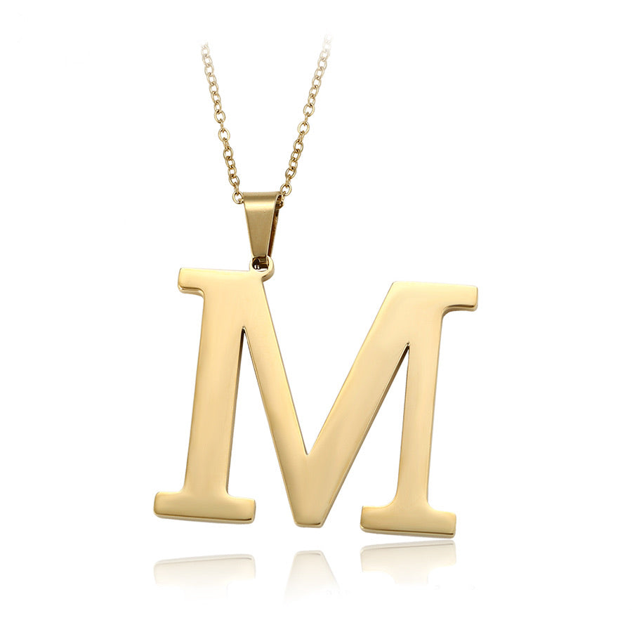 14K Gold Plated Initial M Necklace