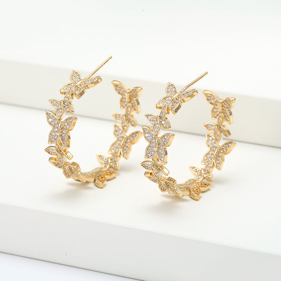 Spring Fashion Diamond Butterfly Hoop Earring