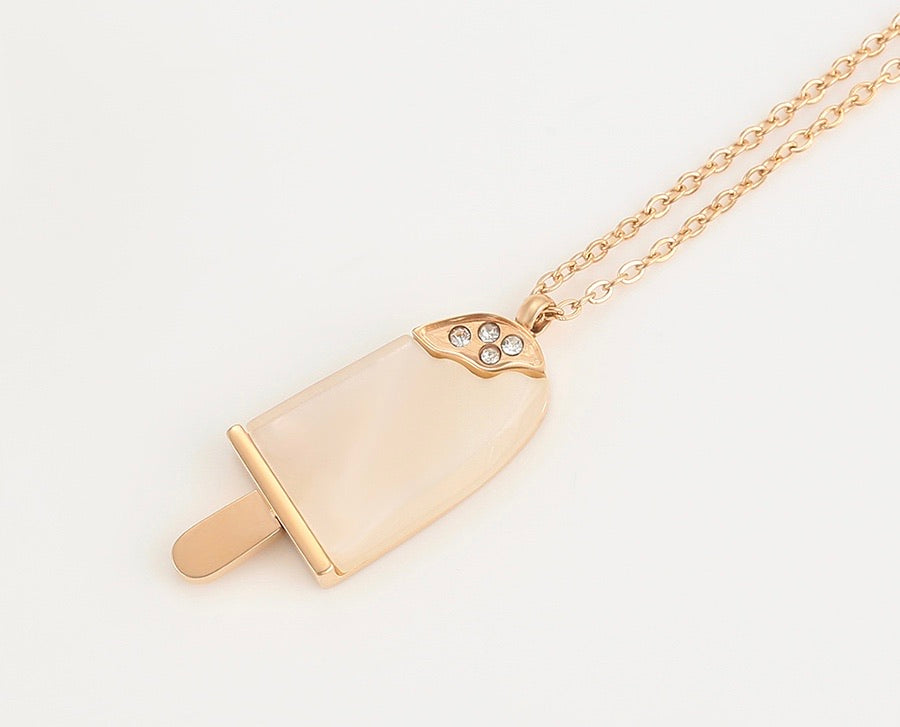 Rose Gold Cutie Diamond Ice cream Necklace