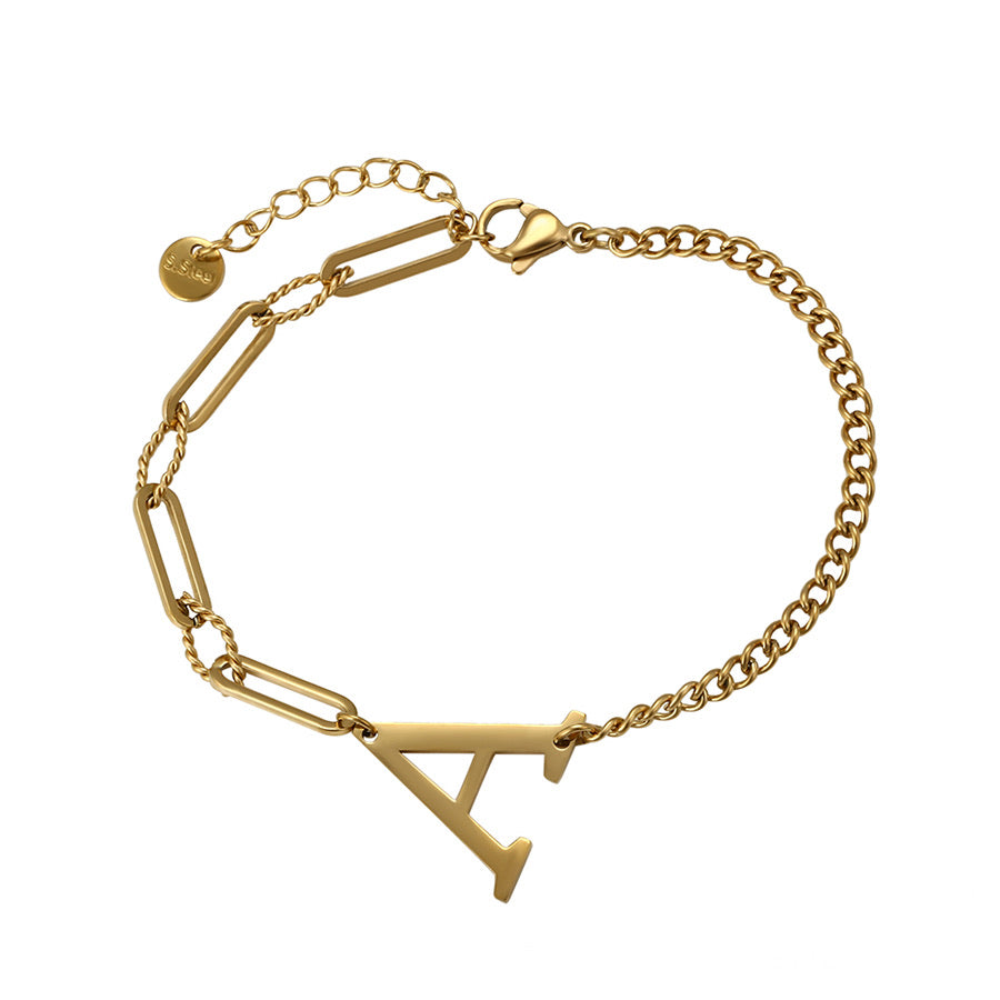 New Design 14K Gold Plated Initial A Trendy Bracelet
