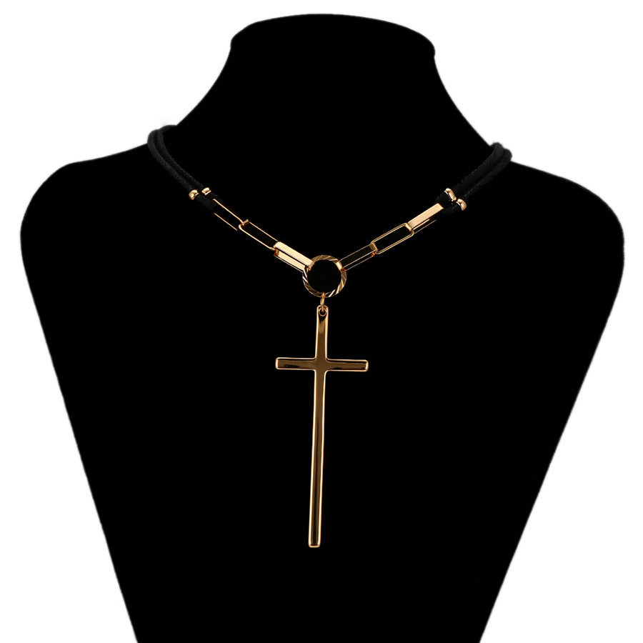 18K Gold Plated Cross Choker Necklace