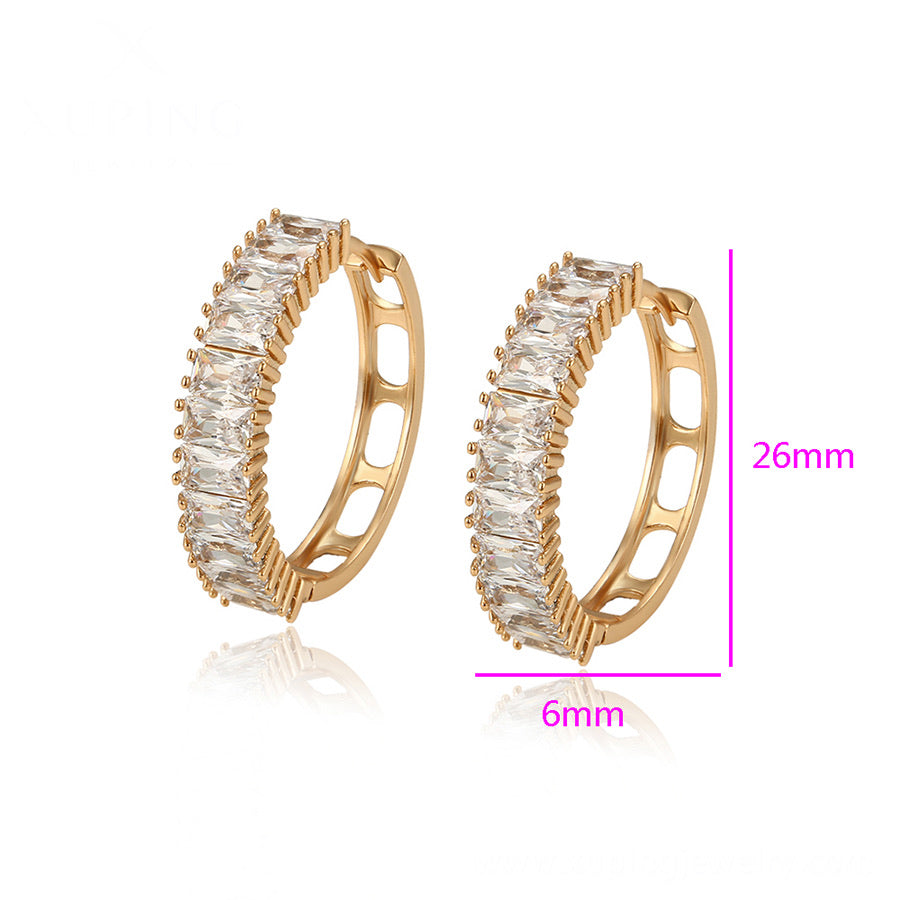 18K Gold Plated CZ Diamond Hoop Earring