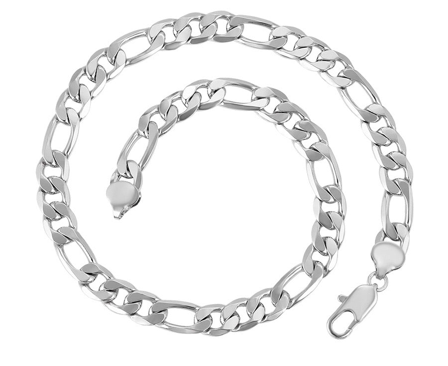 Rhodium Plated Figaro Thick Chain Necklace