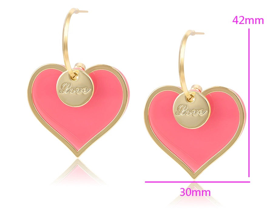 14K Gold Plated Environmental Copper Heart Earring
