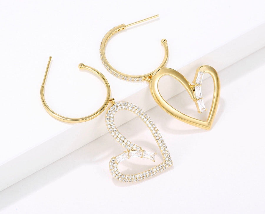 Elegant 14K Gold Plated Diamond Heart Earring