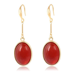 14K Gold Plated Ruby Drop Earring