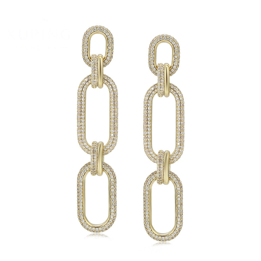 Elegant 14K Gold Plated Cz Diamond Chain Link Earring