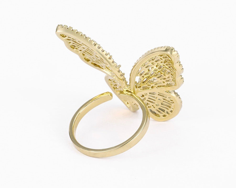 14K Gold Plated Butterfly Ring