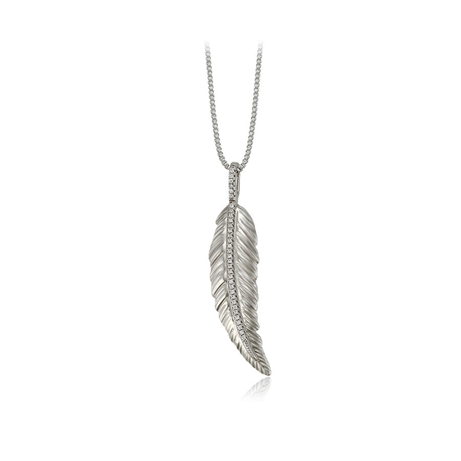 Elegant Cz Diamond Feather Necklace