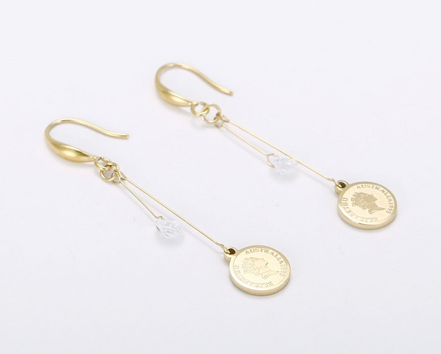 14K Gold Plated Coin Earring