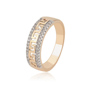 Gold Plated Greek Cut Cz Diamond Ring