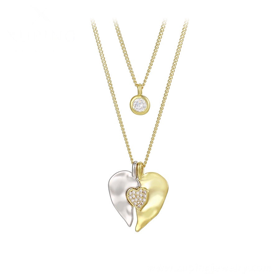 Multicolor Gold Plated Unique Diamond Heart Necklace