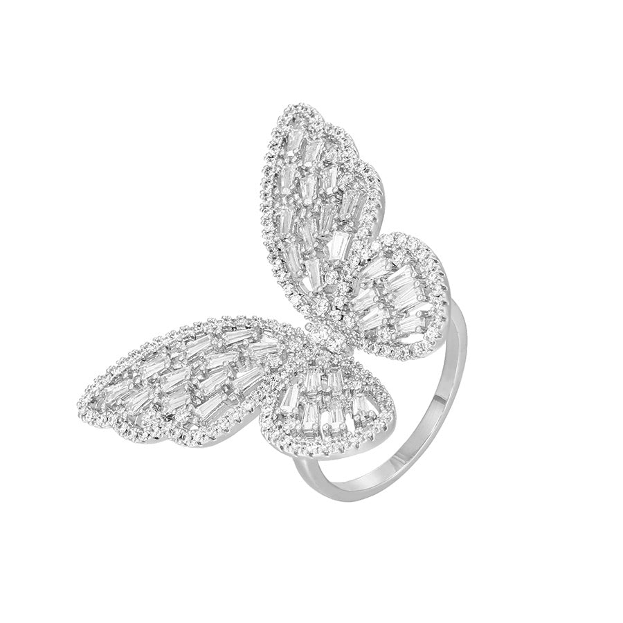 Silver Plated Butterfly Earring & Ring Set