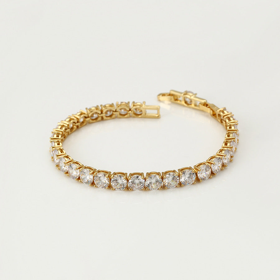 24K Gold Plated Cz Diamond Beautiful Tennis Bracelet