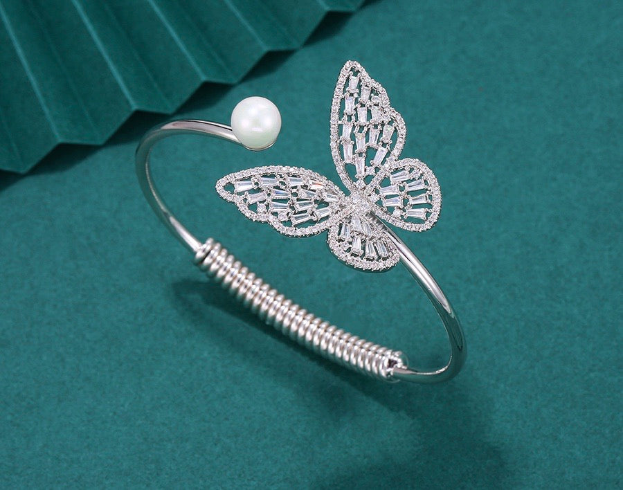 Rhodium Plated Butterfly Bracelet