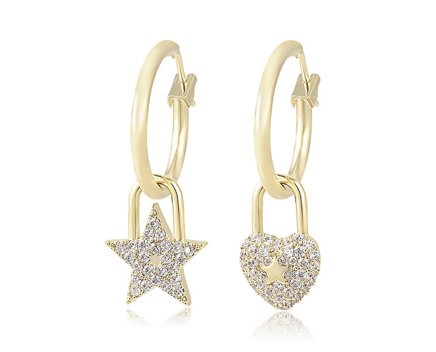 14K Gold Plated Star & Heart Earring