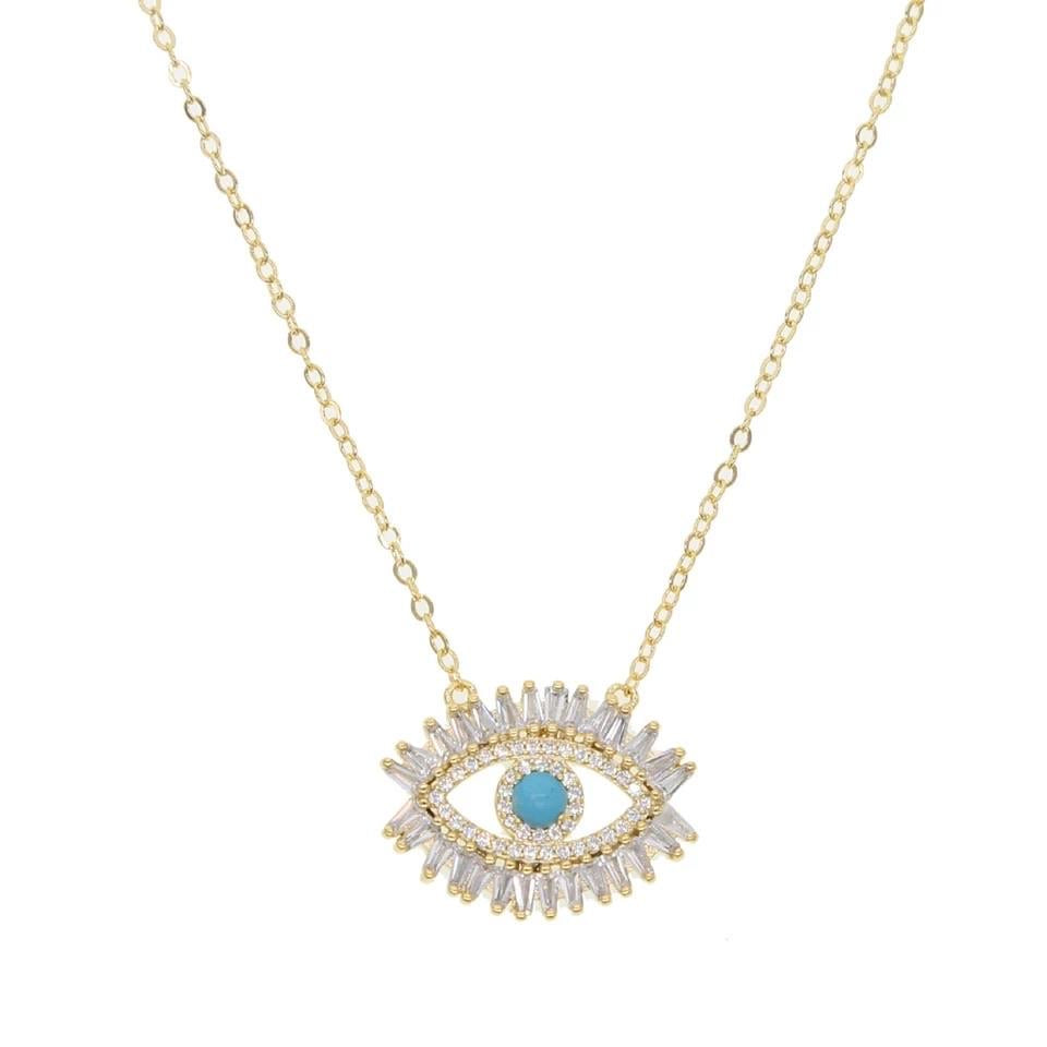 Gold Plated Cz Diamond Hot Sale Eye necklace & Ring Set