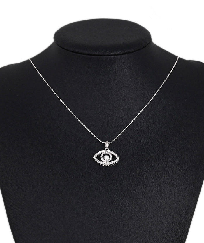 Elegant Eye S925 Silver Spinning Diamond  Necklace