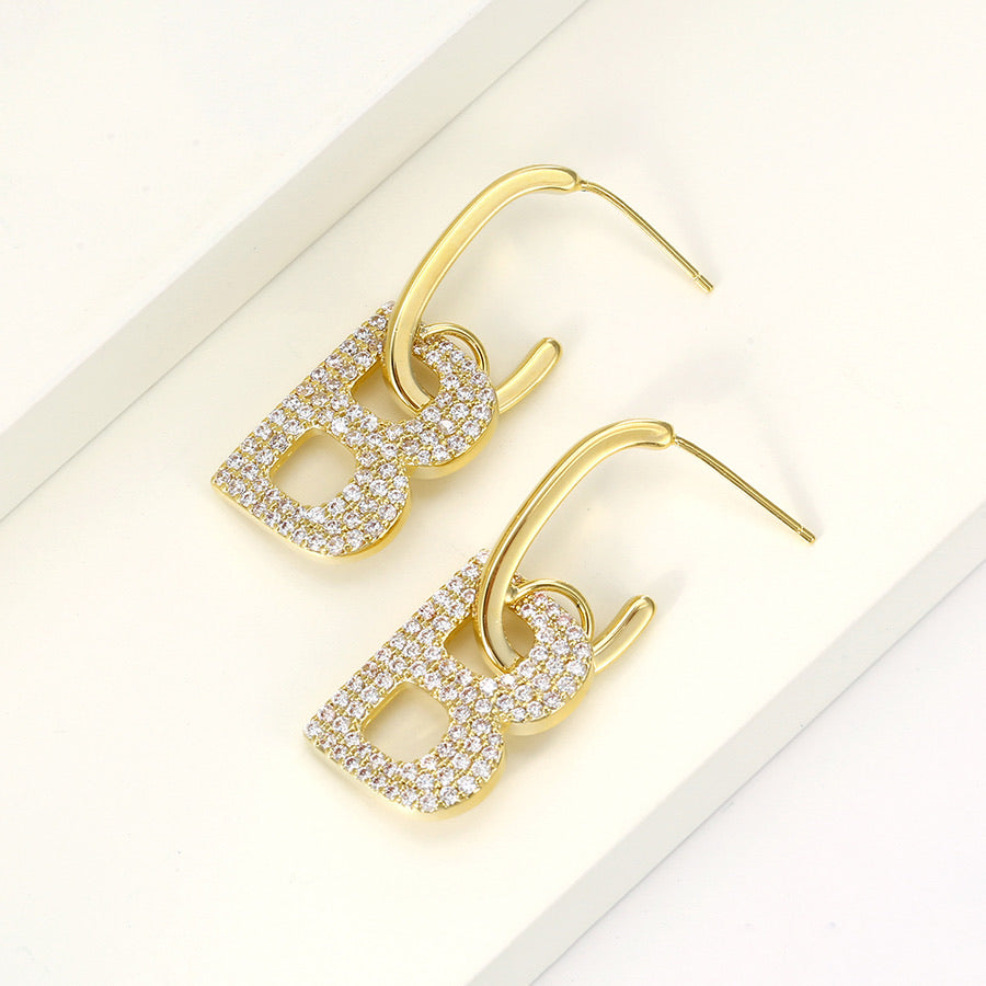 14K Gold Plated CZ Diamond Initial B Earring